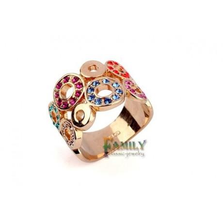 Prsten pozlacený s barevnými krystaly