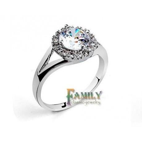 Prsten s krystalem platinovaný