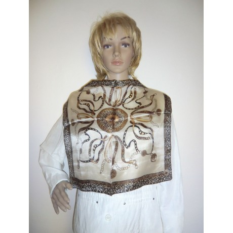 Dámský šátek z hedvábí hnědý vzor