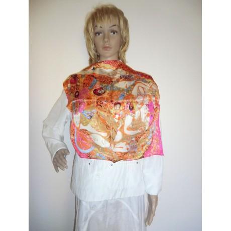 Dámský šátek z hedvábí růžový vzor