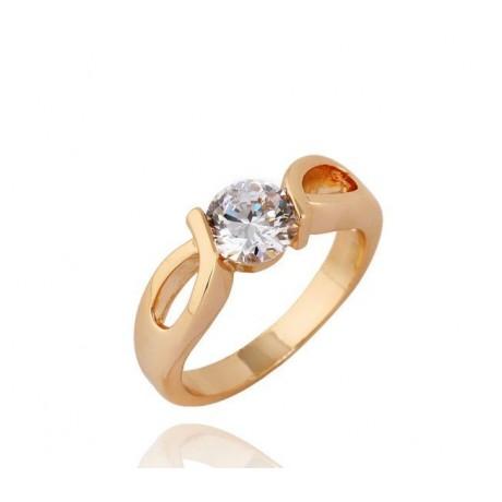 Prsten s krystalem pozlacený