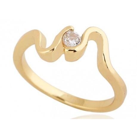Prsten s vlnkami a krystalem pozlacený