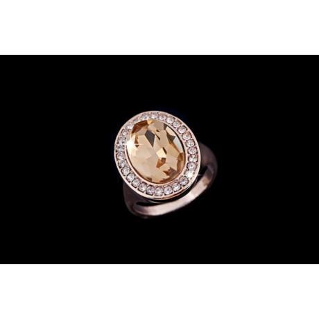 Prsten se zlatým kamenem a krystaly pozlacený