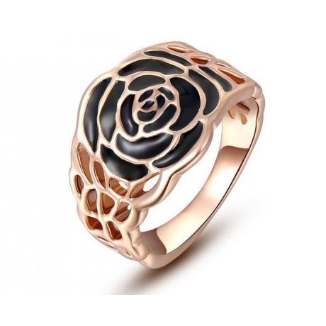 Prsten s černou růží pozlacený