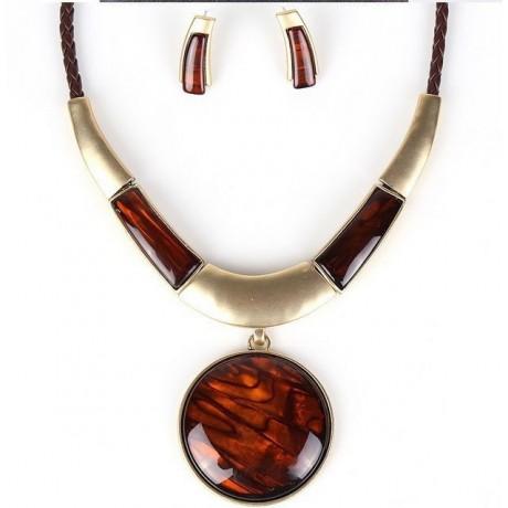 Souprava náhrdelník a náušnice zlatohnědá