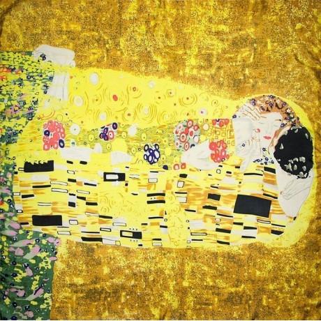 Dámská šála z hedvábí Polibek G.Klimt